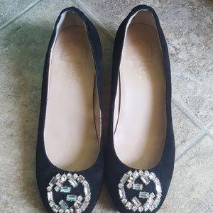 Authentic Gucci black suede diamond detail pumps
